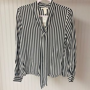 NWT H&M Black and White Stripe Top with Neck Tie